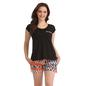 Cotton Round Neck T-shirt & Shorts - Black