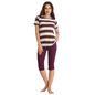 Cotton Striped Top With Purple Capri
