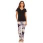 Cotton T-Shirt & Printed Pyjama - Black