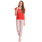 Cotton T-shirt Pyjama Set In Red & Orange