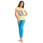 Cotton Yellow Top With Blue Leggings