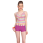 2 Pc Polyamide Striped Beachwear Set in Purple