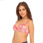 Demi Cup Padded Floral Print Bra - Pink