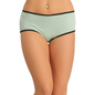 Green Cotton Spandex Hipster With Melange Fabric At Crotch