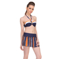 3 Pc Set Of Polyamide & Powernet Halter Padded top with Skirted Bottom and a Sarong in Navy_14