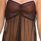 Mesh Babydoll & Thong with Contrast Lace Trims  - Black