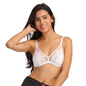 Lace Non-Padded Wirefree Bridal Bra With Demi Cup - White