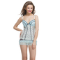 Lace & Powernet Babydoll In Blue