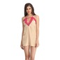 Lacy Neck Babydoll With Cross Back - Beige