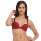 Laser Cut Padded Bra In Maroon With Detachable Straps
