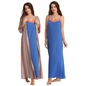 Long Nighty With Printed Robe - Brown