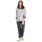 Printed Hooded Jacket & Pyjama Set in Fleece Fabric - Grey