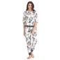Floral Print Full Length Top & Pyjama Set - White