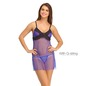Mesh & Lace Babydoll With Matching Thong - Blue