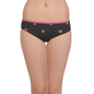 Mid Waist Bikini With Contrast Front Lace - Black