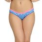 Printed Mid Waist Bikini With Contrast Lace - Blue