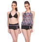 3 Pc Set Of Polyamide Bra Boyshort With Georgette Cover Ups in Pink