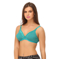 Cotton Non-Padded Wirefree Plunge Demi Cup T-shirt Bra - Green