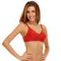 Cotton Rich Non-padded Full Support Bra In Red