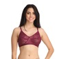 Non-Padded Non-Wired Bra With Lacy Cups - Purple