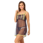 Mesh Babydoll & Thong with Contrast Lace Trims - Blue