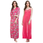 Satin & Lace Nightgown & Matching Robe - Pink