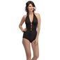 Halter Neck Teddy with Contrast Red Bow & Trimmed Elastic - Black