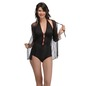 Halter Neck Teddy & Robe Set with Contrast Red Bow & Trimmed Elastic - Black