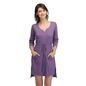 Cotton Short Nightie with Side Slits - Purple