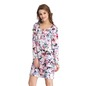 Floral Short Nightie with Full Sleeves - Pink