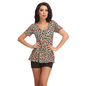 1 Pc Polyamide Padded Floral Print Swimsuit In Black