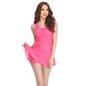 Polyamide Padded Monokini Cross Back Swimsuit in Hot Pink
