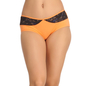 Orange Cotton Spandex Hipster With Contrast Lace At Front Waist_1