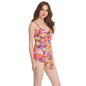2 Pc Polyamide & Powernet Padded Swimsuit with Orange Tankini and Shrug