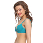 Cotton Push Up Bra In Aqua With Padded Demi Cups