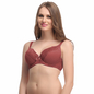 Padded Plus Size Bra In Maroon With Detachable Straps & Polka Print