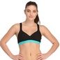 Cotton Padded Sports Bra In Black With Green Broad Elastic