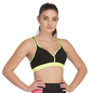 Padded Sports Bra In Black With Flourescent Green Trims & Broad Elastic