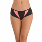 Pink Cotton Spandex Bikini With Contrast Fabric In Front