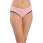 Pink Cotton Spandex Bikini With Contrast Lace At Leg Opening