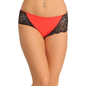 Red Cotton Spandex Hipster With Lacy Sides