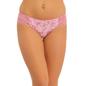 Cotton Mid Waist Bikini With Lace Sides - Pink