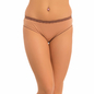 Cotton Mid Waist Bikini With Lace Trim - Brown