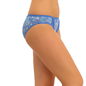 Cotton Mid Waist Bikini With Lace Sides - Blue