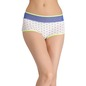 Printed High-Waist Hipster with Powernet at Waist - Blue