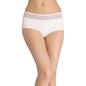 Cotton High-Waist Hipster with Powernet at Waist - White