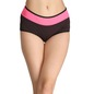 Striped High-Waist Boyshorts with Powernet at Waist - Black