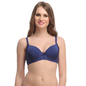 Padded Lacy Demi Bra In Navy With Detachable Straps