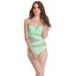 Polyamide & Powernet Monokini Swimsuit In Light Green