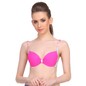 Neon Pink Push-Up Bra With Plunge Neck & Back Detachable Straps